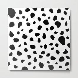 Dalmatian Dog Spots Animal Print Black White Metal Print