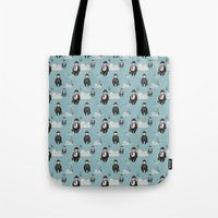 magritte Tote Bags featuring Impression Magritte by Gülce Baycık
