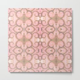 Moroccan Scroll Swirl Modern Pattern in Pink and Cocoa Metal Print