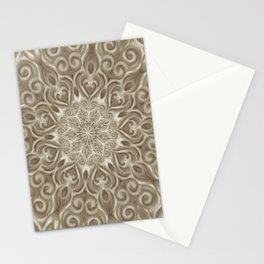 Beige swirl mandala Stationery Cards