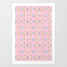 Daisies and Vines on Pink Art Print