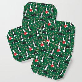 Christmas Border Collie - green Coaster
