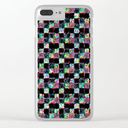 Multicolored Black Patchwork Clear iPhone Case