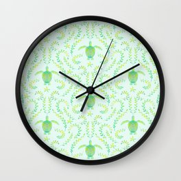 Sea Turtle Watercolor Pattern Wall Clock