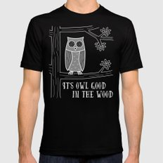 It's Owl Good in the Wood Black MEDIUM Mens Fitted Tee