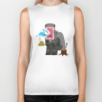 dentist Biker Tanks featuring Hippopotamouth by Oliver Lake