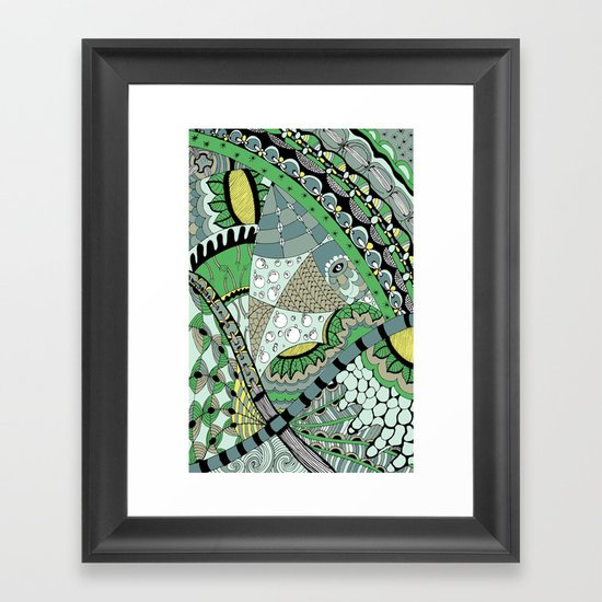 The fish who dreamed of sunflowers and buttons Framed Art Print