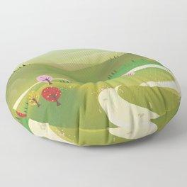 Cartoon hilly landscape Floor Pillow