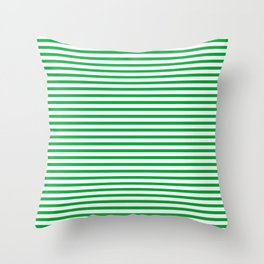 Green Candy Stripes Throw Pillow