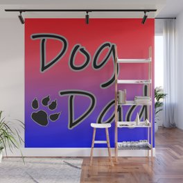 Dog Dad - Red Blue Wall Mural