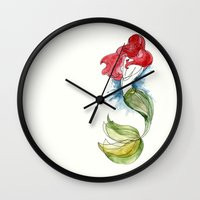 little mermaid Wall Clocks featuring Little Mermaid by Ines92