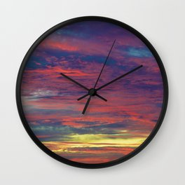 Cotton Candy coloured sky Wall Clock