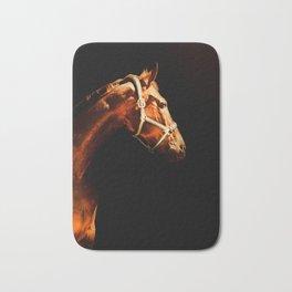 Horse Wall Art, Horse Portrait Over a Black background, Horse Photography, Closeup Horse Head Bath Mat