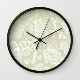 Ocean Critters with Grey Background Wall Clock