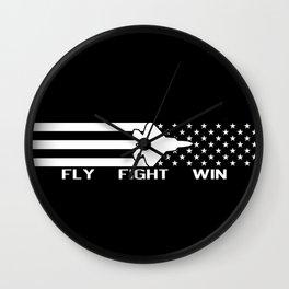 U.S. Military: F-22 - Fly Fight Win (Black Flag) Wall Clock