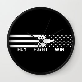 U.S. Military: F-22 - Fly Fight Win (Black Flag) Wall Clock