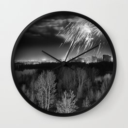 Night fireworks over flooded forest Wall Clock