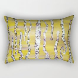 Aspen Trees Acrylic Painting Rectangular Pillow