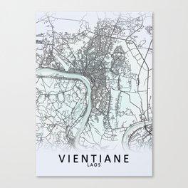 Vientiane, Laos, White, City, Map Canvas Print
