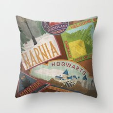 Fantasy Land Luggage Stamps  Throw Pillow