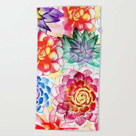 Colorful Succulents  Beach Towel