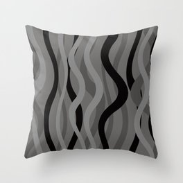 Wave Lines and Stripes black grey grey Throw Pillow