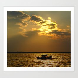 Fishing Boat Returns at Dusk Art Print