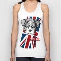 english bulldog Tank Tops featuring English Bulldog by Det Tidkun