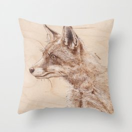 Red Fox Portrait - Drawing by Burning on Wood - Pyrography art Throw Pillow