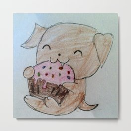 Cute Puppy with Cupcake Metal Print
