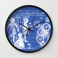 blueprint Wall Clocks featuring MY LITTLE SISTER BLUEPRINT by Sofia Youshi