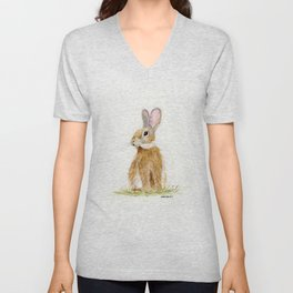 Butterscotch Rabbit - animal watercolor painting Unisex V-Neck