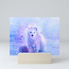 Arctic iceland fox Mini Art Print