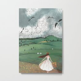 Girl And Fly Birds Metal Print