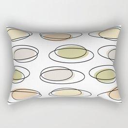 Mid Century Modern Ovals Scribbles Pastel Rectangular Pillow
