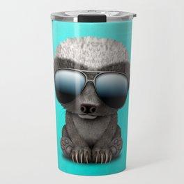 Cute Baby Honey Badger Wearing Sunglasses Travel Mug