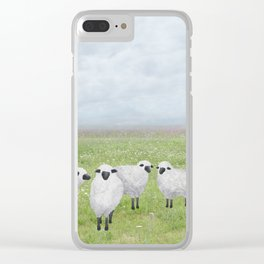 sheep and queen anne's lace Clear iPhone Case