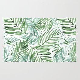 Watercolor palm leaves pattern Rug