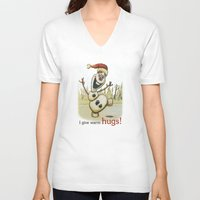 olaf V-neck T-shirts featuring Olaf Christmas Frozen by WimpyGeek Art