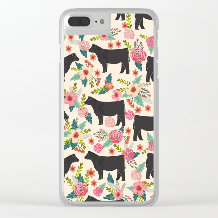 Show Steer cattle breed floral animal cow pattern cows florals farm gifts  Clear iPhone Case by farmfriendly