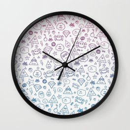 Cute & Sweet Monsters / Funny Clouds and Diamonds Wall Clock