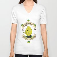 lemongrab V-neck T-shirts featuring LEMON GRAB LEMONS by Alyssa Leary