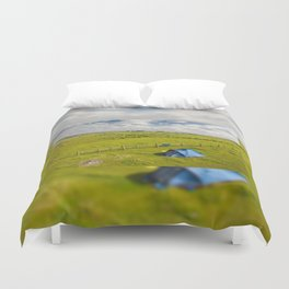 Camping tent and grass expanse Duvet Cover