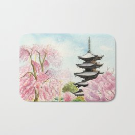 Japanese Temple Watercolor Painting print by Suisai Genki , To-ji, Kyoto , Sakura , Cherry blossom Bath Mat