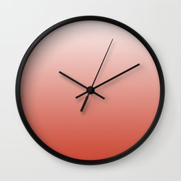 White, pink, coral gradient, Ombre. Wall Clock