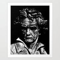 beethoven Art Prints featuring Beethoven by G_Stevenson