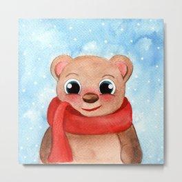 Cute Bear Winter Watercolor Illustration Metal Print