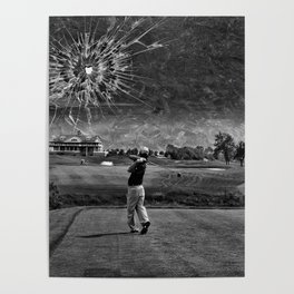 Broken Glass Sky - Black and White Version Poster