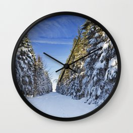 Trail through beautiful winter forest on a clear day Wall Clock