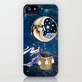 Vintage hot air ballon in a starry galaxy night sky iPhone Case